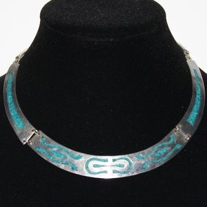 Stunning silver and turquoise collar necklace
